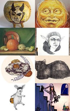 Halloween drawing by Tetiana Kondratyk on Etsy--Pinned with TreasuryPin.com
