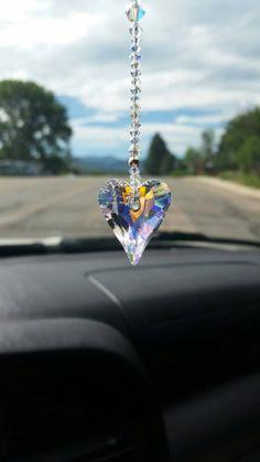 New Hanging Car Charm ~ Sun Catcher Love Heart Mobile ~ Orange ~ Gift Idea Interieur