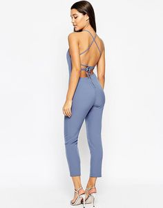 Image 1 of ASOS Lace Up Back Jumpsuit