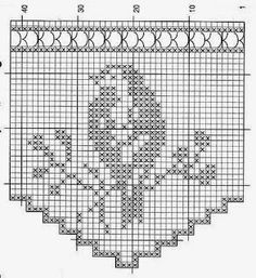 crochet em revista: motivos pássaros lots of bird diagrams croche filet pássaros - REGINA RECEITAS DE CROCHE E AFINS I have made this & a lot of people love the cupboard shelf piece i made, very easy pattern you start from the side of the panel. Crochet Scarf Diagram, Crochet Curtain Pattern, Crochet Lace Scarf, Filet Crochet Charts, Crochet Curtains, Crochet Motifs, Crochet Cross, Tapestry Crochet, Crochet Home