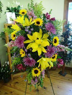 Spray- Yellow Lilies, Sunflowers, Purple Spiders, Solidago, and Alstroemeria