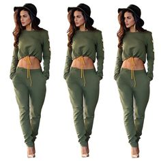 LAZYLADY Sexy Womens long sleeve 2pcs set casual bodycon long jumpsuit playsuit rompers Army Green Long pants