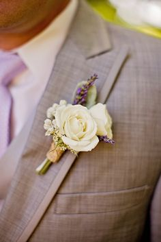 grey suit, lavender tie, touch of purple in bout. white boutonniere with lavender sprig // photo by Liz Grogran Photography - these were the tuxes we had for our wedding. My hubby looked so handsome. Purple Wedding, Floral Wedding, Wedding Bouquets, Wedding Flowers, Flower Bouquets, Wisteria Wedding, Wedding Colors, Wedding Groom, Rustic Wedding