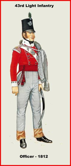 (Monmouthshire) Light Infantry- Officer- Battalion on the American coast from January to April Main engagement: New Orleans. British Army Uniform, British Uniforms, British Soldier, Military Art, Military History, Military Uniforms, Commonwealth, Napoleonic Wars, American Revolution