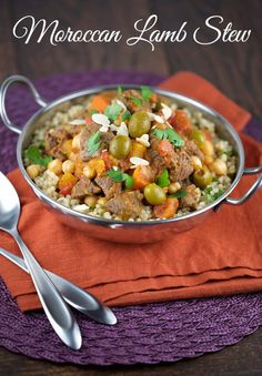 Moroccan Lamb Stew - A delicious and fragrant hearty recipe packed with sweet and savory flavors. Serve with a fresh lemon and mint couscous for a perfectly delicious meal! | jessicagavin.com