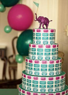tickets & glitter covered circus animals- carnival wedding