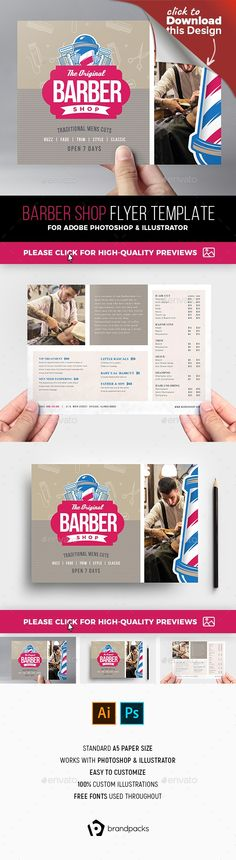 a5, ai, barber, barber shops, barbering, barbers shop, BrandPacks, fades, flyer, flyer design, flyer template, flyers, hair dresser, hair dressing, hair salon, illustrator, mens grooming, photoshop, postcard, psd, traditional, traditional barber, turkish shave, vector    Barber Shop Flyer Template for Photoshop & Illustrator  	An A5 flyer template in Photoshop & Illustrator format ideal for barber's shops, hair salons, men's grooming products and barbering services.   	All layers &a...