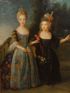 Huge-Fine-17th-Century-Style-Sisters-Exotic-Garden-Portrait-Oil-Painting
