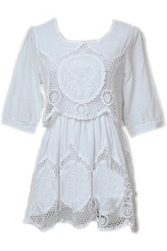 ROMWE | Hollow Flower Lace White Dress, The Latest Street Fashion #ROMWEROCOCO