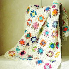 Granny Square Afghan Crochet Blanket Throw Bright Multi Color White Trim. $87.00, via Etsy.