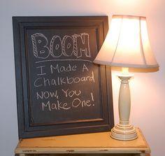 DIY Framed Chalkboard - with Benjamin Moore Chalkboard paint.