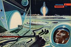 """Dark Roasted Blend: Rare & Wonderful 1950s Space Art  """"Meeting Across the Centuries"""": great romantic Smena illustration: Read more at http://www.darkroastedblend.com/2012/06/rare-wonderful-1950s-space-art.html#5zpSzt48TcloTKmD.99"""