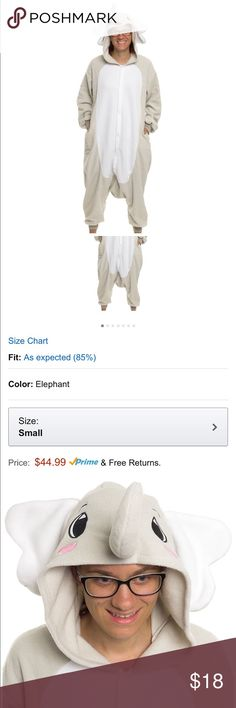 Unisex Onesie Cosplay Elephant Animal Costume Only worn once, almost new condition, true to size. These onesies aren't just for costume parties, either! Snuggle up in your favorite onesie on a cold night, or take it skiing, for a fun way to hit the slopes. Music festivals are a great place for onesies, allowing you to dress up and still be comfortable, and you really can't go wrong rocking a onesie during a night out on the town. Silver Lily Other