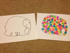 This Elmer the Elephant outline can be used with colored squares. We use them with dot art markers and count as we place each colorful dot. Elephant Outline, Elephant Book, Elephant Theme, Letter E Activities, Library Activities, Book Activities, Elmer The Elephants, Color Unit, Children's Picture Books