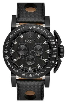 Main Image - Zodiac 'Racer' Chronograph Leather Strap Watch, 47mm