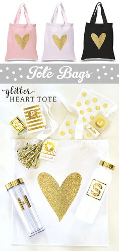 Bridesmaid Totes Bags are pretty gift bags for anyone in your bridal party such as a flower girl or maid of honor.! Glitter Heart Totes by Mod Party