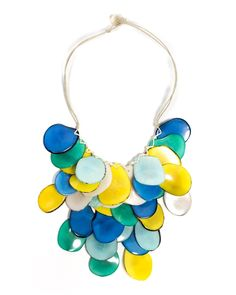 """The Lluvia de Tagua necklace is made from """"vegetable ivory"""" and certified organic vegetable dyes. The company works with artisans in Ecuador and is Fair Trade! via Organic Tagua Jewelry  http://www.organictaguajewelry.com/Lluvia-de-Tagua-Necklace-Wholesale-p/sc201.htm"""