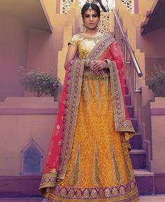 Buy Lovely Yellow Lehenga Choli online at  https://www.a1designerwear.com/lovely-yellow-lehenga-choli-2  Price: $199.38 USD