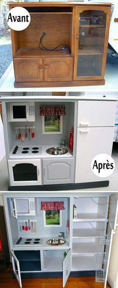 Turn an old entertainment center into a child's play kitchen