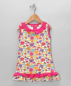 Take a look at this White & Pink Heart Ruffle Tunic - Toddler & Girls by Bamba Kids on #zulily today!