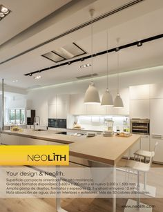 """Neolith appears in Diseño Interior Magazine on the special of """"Kitchens & Baths"""" that the magazine dedicates in 254 issue. Special in which Neolith is present with the image of one of its metallic countertops and an ad on the back cover of magazine. Interiors Magazine, Kitchen And Bath, Countertops, Ceiling Lights, Interior Design, Baths, Table, Kitchens, Metallic"""