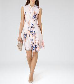 Womens Multi Neutrals Printed Dress - Reiss Cosmic