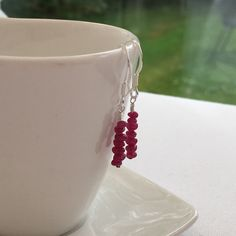 Rubies for July! Genuine uncut Ruby nuggets available on Sterling silver earrings, bracelet or necklace. :D