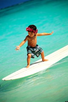 Surfing is a way of life! Never too young to he'e nalu (ride the waves). #Aloha