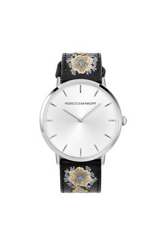 Major Silver Tone Embroidered Leather Watch, 40MM (Rebecca Minkoff)