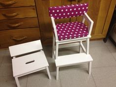 Child seat made from two IKEA BEKVÄM step stools.