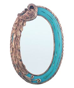 This Blue Oval Peacock Mirror - Blue is perfect! #zulilyfinds