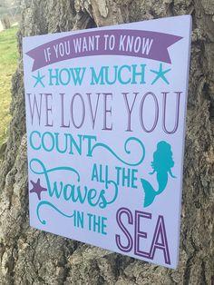 Mermaid Nursery Sign, Mermaid Decor, Nautical Mermaid Wood Sign, Count the Waves. Mermaid Nursery Decor, Mermaid Bedroom, Girl Nursery, Girl Room, Little Mermaid Nursery, Baby Room, Mermaid Sign, Mermaid Wall Art, Baby Mermaid