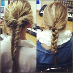 Quick and easy hairstyle for school ! Fishtail and Not quite a French braid but almost ! Still super cute !