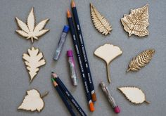 Leaves set of 8 pcs laser cut plywood cutouts with engraving for DIY projects craft supplies by woodandroot. the best idea for art therapy :) ! (Craft Supplies & Tools  Scrapbooking Supplies  Embellishments & Die Cuts  wood  Supplies  scrapbooking  badge  pin brooch  Patches  magnets  nature  forest  plant  herbarium  ferns)