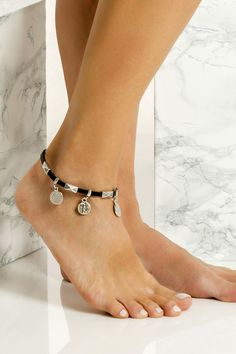 Women leather anklet in handmade with silver plated embellishments which means they don't tarnish with sun. Wear it with cropped hemlines all summer long. Silver Anklets, Beaded Anklets, Anklet Bracelet, Bracelets, Hanging Beads, Ankle Chain, Long Layered, Athens Greece, Necklaces