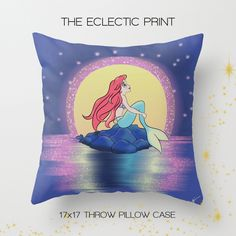 home decor. gifts for mermaids. just plain fin-tastic.  The perfect addition to any household that loves Disney Collectibles! This throw pillow case features one of our Limited Edition pieces, a stylish statement that will liven up any room!  ♥ About the pillow case:  Case measures about 17...