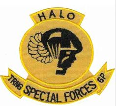 """Special Forces Training Group (JFK-SWC) Jump Suit Patch """"Halo"""" Special Forces Patch, Special Forces Training, Airborne Army, Troops, Soldiers, Green Beret, Jfk, Us Army, Halo"""
