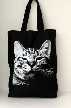 LOVE this - would be great as a book bag or a travel bag :-) Sleeping cat  big size Canvas tote bag/Diaper by Tshirt99 on Etsy, $19.99