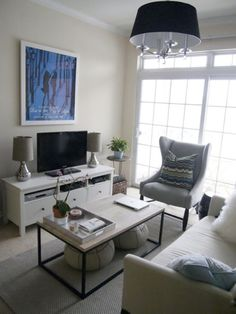 Living Room: Contemporary Small Living Rooms Designs With White Comfy Sofa And Grey Arm Chair Also Metal Coffee Table With Marble Top And Luxury Chandeliers With Black Shades And Chrome Table Lamps Design I: Remodelling Small Living Room Design Ideas With Taste