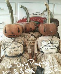 Primitive Doll Pumpkin Halloween Dirty Fabric Early Prim OOAK Veenas Mercantile #NaivePrimitive