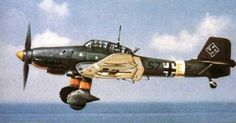 """Junkers Ju 87 or Stuka (short for Sturzkampfflugzeug, """"dive bomber"""") was a two-man German dive bomber and ground-attack aircraft. The Stuka first flew in 1935 and made its combat debut in 1936 as part of the Luftwaffe's Condor Legion during the Spanish Civil War.  Upon the leading edges of its maingear legs were mounted the Jericho trumpet wailing sirens, becoming the propaganda symbol of German air power and the blitzkrieg victories of 1939–1942."""