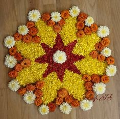 Have a great day and enjoy your Onasadhya. A small and simple pookalam. Flower Rangoli Images, Simple Flower Rangoli, Rangoli Designs Flower, Rangoli Border Designs, Rangoli Ideas, Colorful Rangoli Designs, Rangoli Designs Diwali, Rangoli Designs Images, Flower Mandala