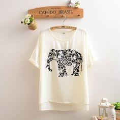 Elephant Printed chiffon shirt T-shirt MX61234