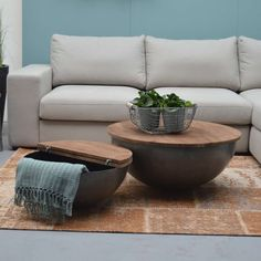 Coffee table Bowl Suzan / Jenny Ø 60 cm Metal Mango solid Side table Sofa table - Bestdiyprojects
