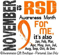 I have RSD, now called Complex Regional Pain Syndrome/Reflex Sympathetic Dystrophy. It has been a part of my journey for 17 1/2 years now and counting. I am in pain every second of every day. I have CRPS/RSD but I am not CRPS/RSD. It is a major part of my life but I am thankful for the insight I've found and the friends I've made... and especially for the journey...