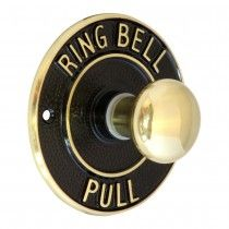 BP44-PB Round Embossed Bell Pull Mechanical  - Polished Brass