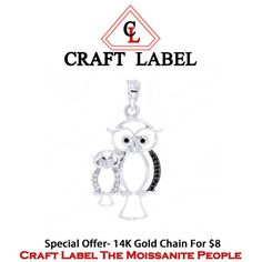 """1/8 Ct Round Brilliant Cut 14K Gold Owl Mom & Baby Pendant Without Chain """"Mother\'s Day Gift"""". Starting at $1"""