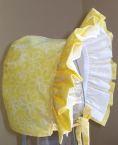 Baby Bonnet Summer Sunshine Yellow and White by MaryandEllen, $17.98