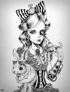 New steampunk fantasy art alice in wonderland Ideas Alice In Wonderland Steampunk, Alice In Wonderland Artwork, Dark Alice In Wonderland, Art Steampunk, Steampunk Drawing, Drawn Art, Arte Sketchbook, Alice Madness, Amazing Art