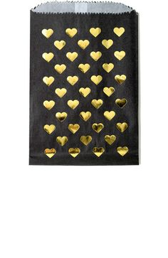 Gold Foil Heart Print Favor Bags in Black